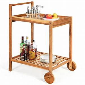 Gymax, 2-tier, Acacia, Rolling, Kitchen, Trolley, Cart, Dining, Serving, Cart, Outdoor, W, Wheels