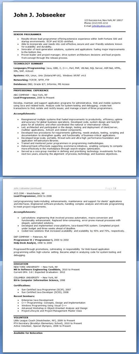 Programmer Resume Exle by Computer Programmer Resume Exles School Learning