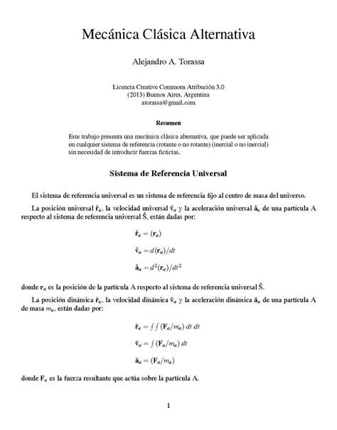Un Resumen De Trabajo by Mec 225 Nica Cl 225 Sica Alternativa Monografias