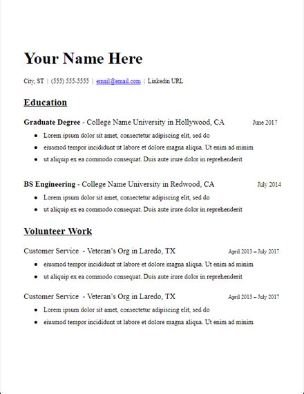 Chronological Resume Exle High School by Education Based Grad School No Experience Resume Template
