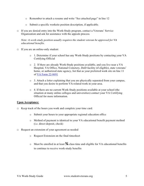 Va Work Study Resume by Va Work Study Guide