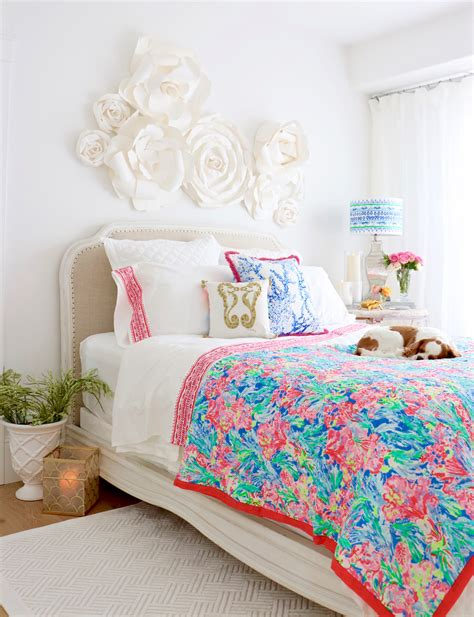lilly pulitzer pottery barn collection styled shown in my guest bedroom