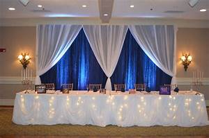 Navy blue white fairy tale wedding reception head table for Backdrop decoration for wedding