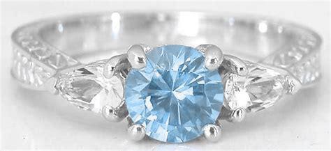 stone aquamarine engagement ring  engraved