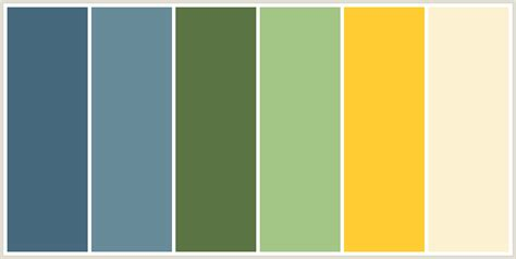 Sage Green, Olive Green, Yellow, Grey Blue Color Scheme