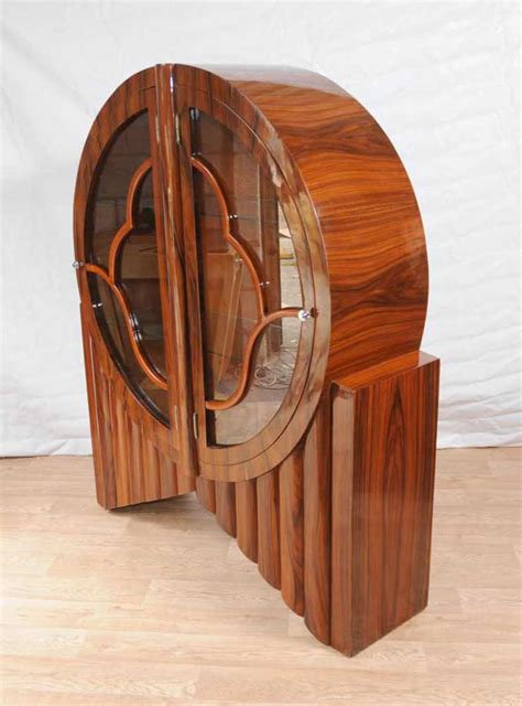 art deco display cabinet bookcase rosewood vintage