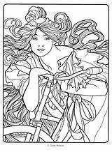 Coloring Nouveau Deco Mucha Alphonse Colouring Adult Drawing Adults Flickr Sheets Line Drawings Abstract Colorir Suellen Printable Getcolorings Pro Wood sketch template