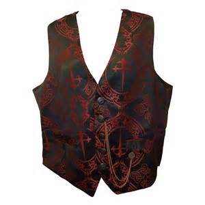 "GMW-58 ""Raven"" gothic waistcoat in red dagger print on"