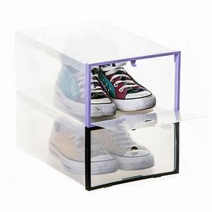 Boite De Rangement Chaussure : ordinett set de 2 bo tes empilables pour chaussures violet ~ Dailycaller-alerts.com Idées de Décoration