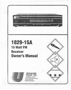 15 Watt Fm Receiver 1829-15a Manuals