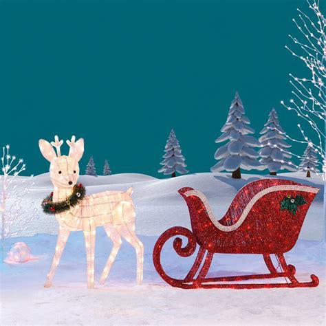 Garden Decorations Ebay by Reindeer Sleigh 260 Led Lights Indoor Outdoor Garden