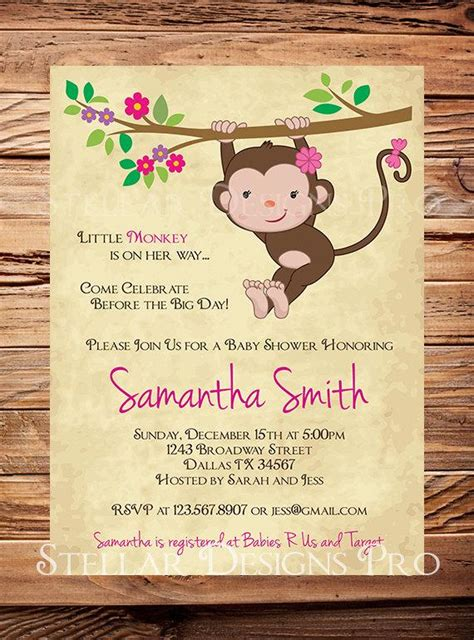 monkey baby shower invitation  monkey boy girl girl