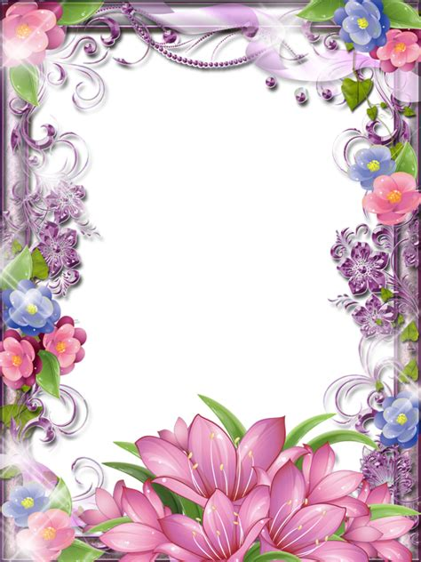 glittery sparkle pink and purple flower girlie border frame scrapbog papir