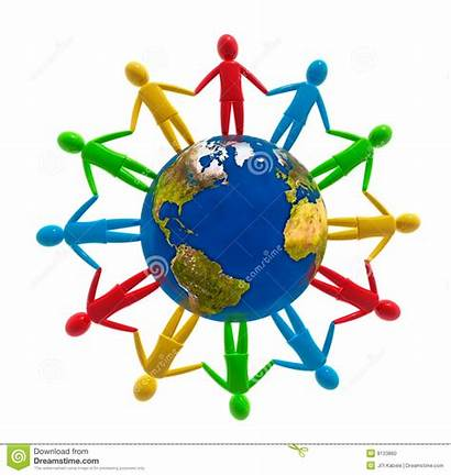Human Connection Unity Around Global Circle Globe