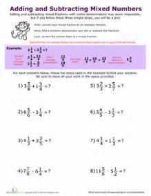 subtracting whole number and fraction adding and subtracting mixed numbers worksheet education