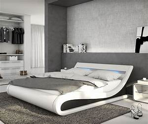 Modernes Bett 180x200 : polsterbett belana 140x200 cm weiss schwarz mit led bett ideen bett modern und polsterbett ~ Watch28wear.com Haus und Dekorationen