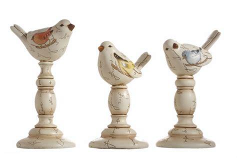 pedestal bird polystone lestick type base antiqued figurine set
