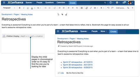 confluence create template create sprint retrospective and demo pages like a atlassian documentation