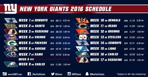york giants  nfl schedule big blue interactive