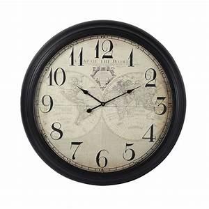 Horloge En Metal : horloge en m tal effet rouille d 93 cm mappemonde maisons du monde ~ Teatrodelosmanantiales.com Idées de Décoration