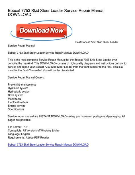 bobcat 7753 skid steer loader service repair manual by minnick issuu