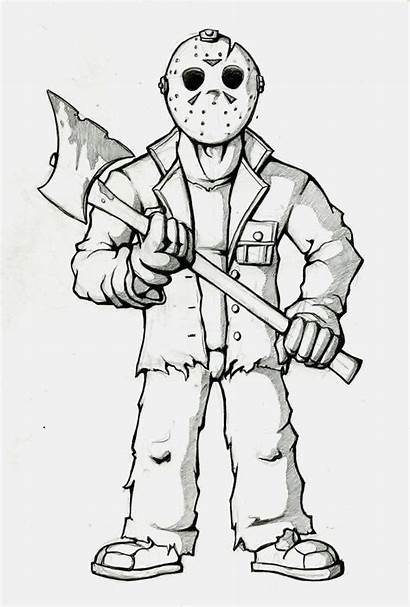 Coloring Jason Voorhees Pages Cartoon Adult Sheets