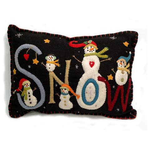 Felt Applique Patterns by Wool Applique Patterns Snow Quot Pillow Wool