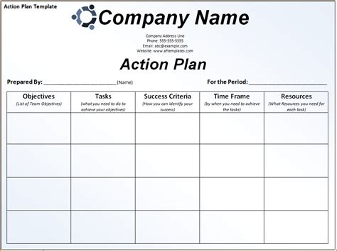 sample action plan template teknoswitch