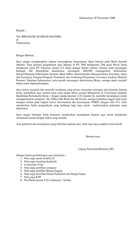 Contoh Cover Surat Lamaran Kerja by Surat Lamaran Kerja Outsourcing Ben Contoh