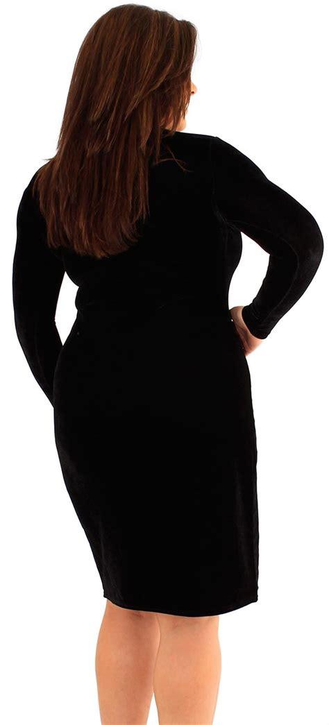 New Womens Plus Size Velvet Long Sleeve Bodycon Midi Dress