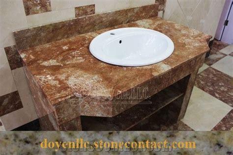 Tea Rose Marble Bathroom Vanity Tops Wt White Top Mount