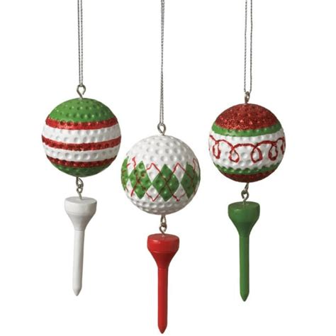 golf ball tee christmas ornament set of 3