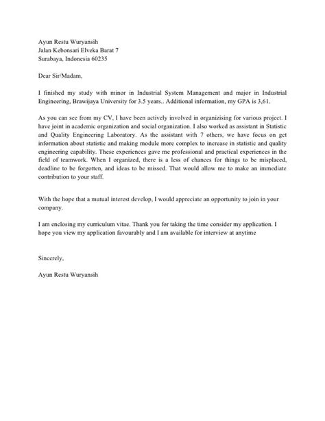 contoh cover letter bahasa inggris  hotel surat