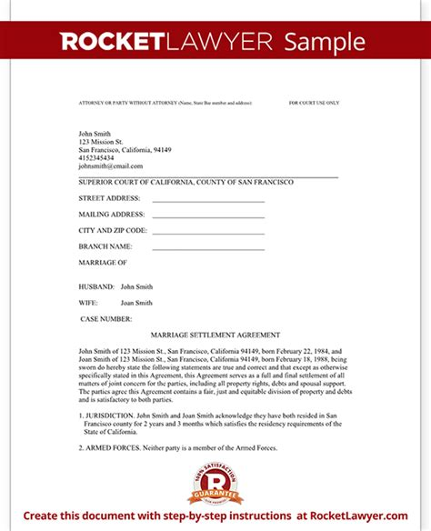 divorce settlement agreement template  sample diy