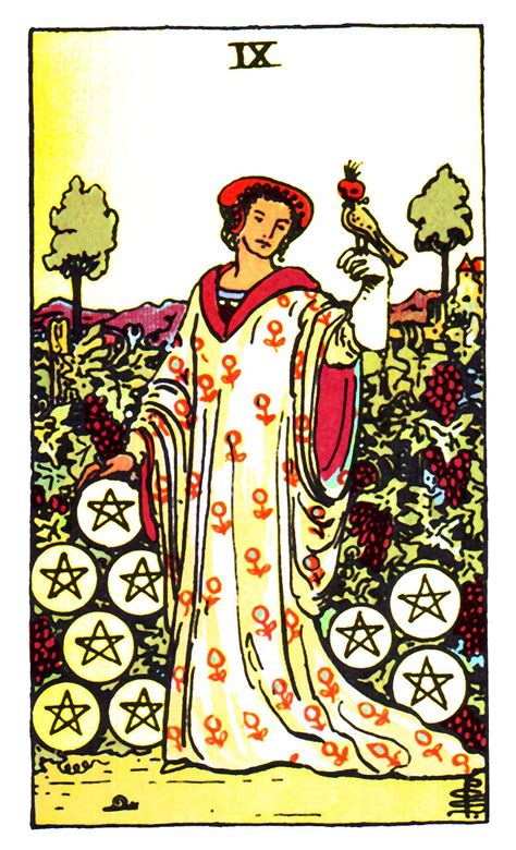List of tarot card meanings here it is….the quick and dirty list of tarot card meanings! Nine of Pentacles ~ Rider Waite | Pentacles tarot, Rider waite tarot, Rider waite tarot cards