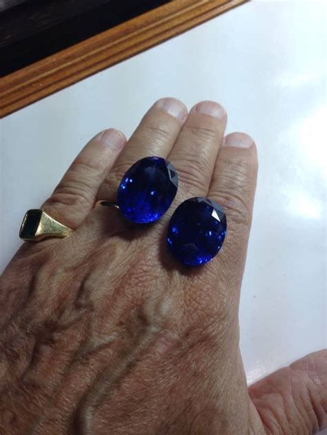 matched pair  unheated ceylon sapphires approximately