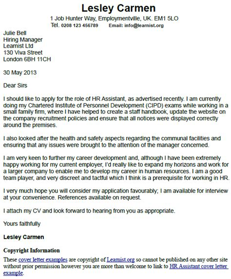 Hr Assistant Cover Letter No Experience by Hr Assistant Cover Letter Exle Learnist Org