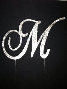 letter m swarovski crystal monogram cake topper With letter m cake topper