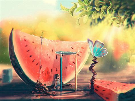 summer watermelon girl butterfly art painting