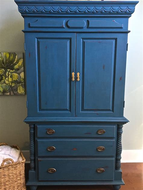 Paint Armoire Chalk Painted Armoire Makeover Aubusson Blue 2 Bees In