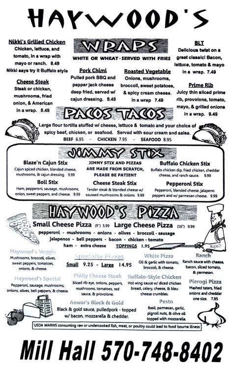 haywoods menu haywood s on the green lock haven pa