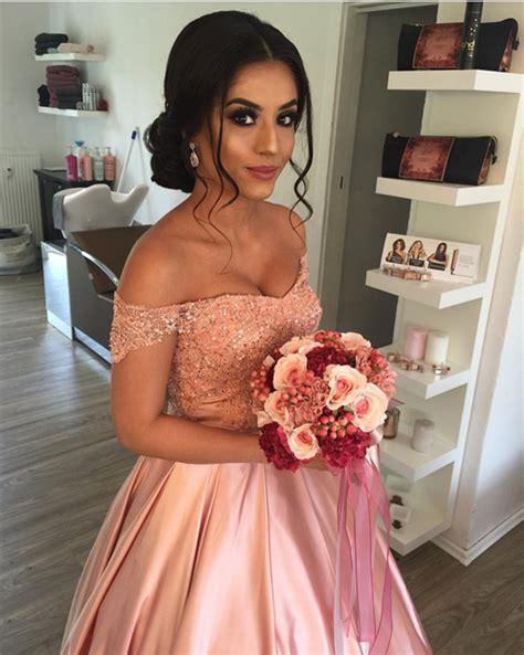cheap prom dresses 2017 elegant lace off shoulder pink