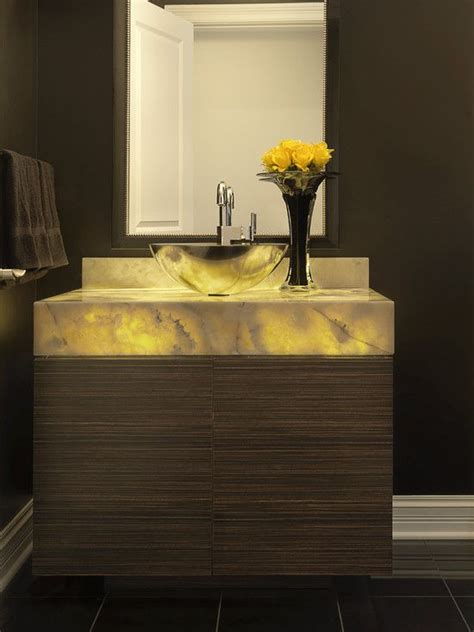 powder room backlit onyx vanity powder room