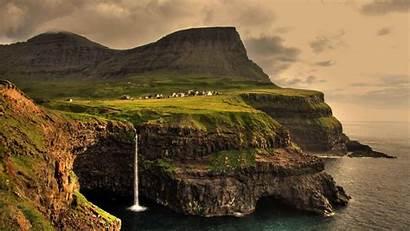 Faroe Islands Gasadalur Waterfall Landscape Anime Desktop