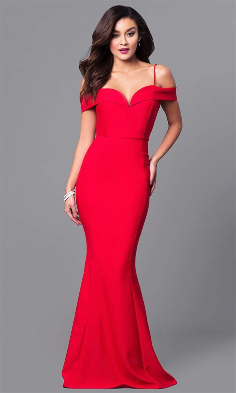 Off-the-Shoulder Sweetheart Long Prom Dress-PromGirl