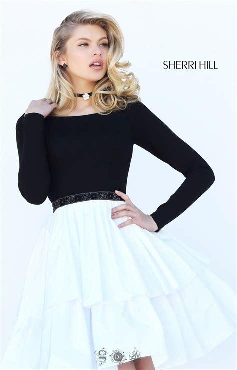sherri hill  long sleeve beaded waist ruffle skirt