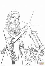 Coloring Wheel Aurora Spinning Pages Princess Finger Pricks Drawing sketch template