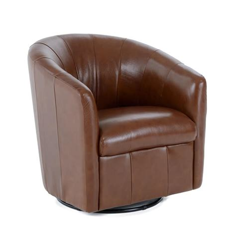 Natuzzi Leather Barrel Swivel Chair by Natuzzi Editions Natuzzi Contemporary Barrel Swivel Chair