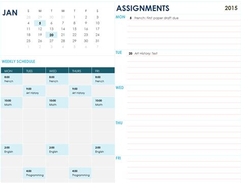 assignment planner  excel templates