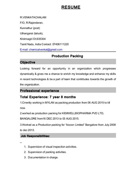Resume For Packaging by Packing Resume